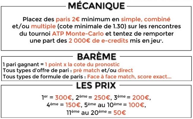 bonus parionsweb challenge ATP