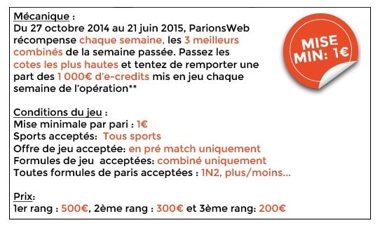1 000 euros à gagner chaque semaine pour les 3 meilleurs combinés ParionsWeb