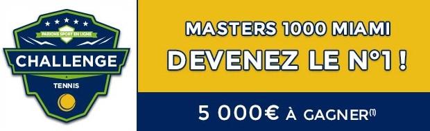 5.000€ mis en jeu par ParionsSport pour le Masters 1.000 de Miami