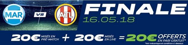 20€ offerts par Parions Sport sur OM-Atletico Madrid le 16 mai 2018