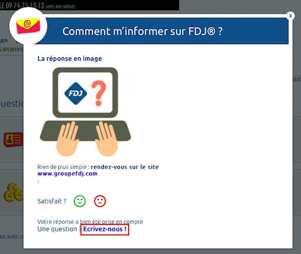 Envoyer un message à la FDJ