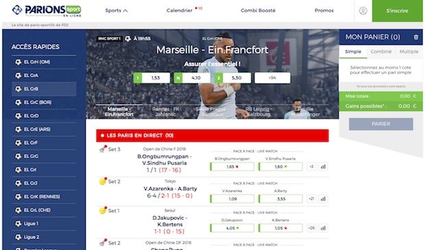 Page d'accueil de ParionsSport