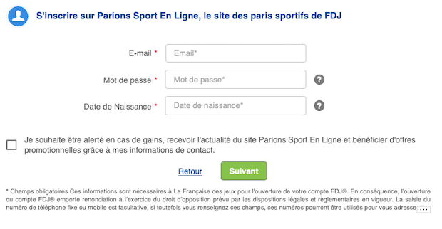 Formulaire d'ouverture de compte ParionsSport