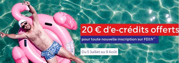 20€ offerts à l'inscription sur FDJ.fr